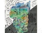 Tahoe painting, lake tahoe, lake tahoe print, lake tahoe map, cabin art, lake tahoe cabin, lake tahoe painting, emerald bay, norcal art