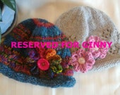 RESERVED FOR GINNY. Handspun Rolled Brim Hat. Wool Acrylic Rolled Brim Hat. Multi Colored. Silver Gray. Side flowers.