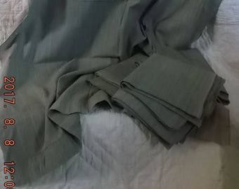 Old Vintage Pre-1950 Fabric 4 Curtain Panels Olive Green cotton Fine Stripe Slight Rib – 8 yds Crafts Piece Goods Quilts Pillow Covers