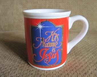 SALE Vintage Christmas Mug Enesco 1992 His Name Is Jesus Coffee Cup Red Gold Blue Bethlehem Star God Jesus Faith Christ Birth