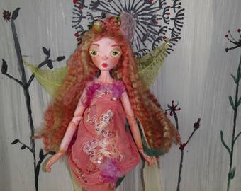 MARIGOLD, Japanese clay jointed puppet doll, fairy art doll made in the USA