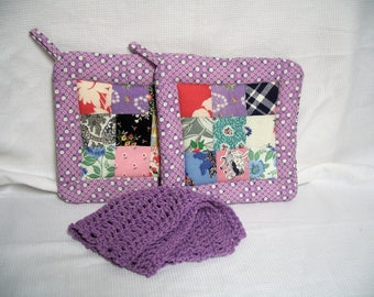 Pot Holders made from Vintage Quilt Top, Set of 2, With or Without Dishcloth, Insulated Potholders, Lavender Quilted Trivets, Hot Pads