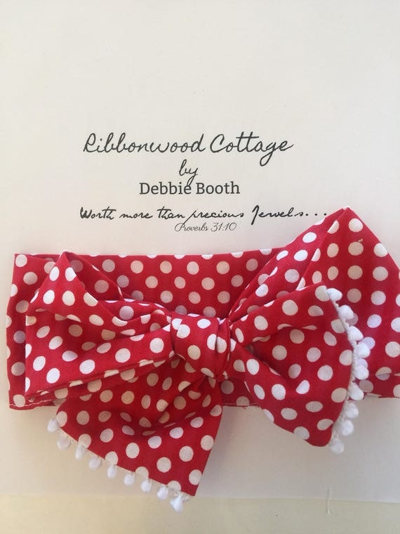 Baby Head Wrap Red with white Polka Dots