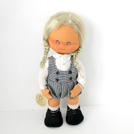 Vintage Mary Vazquez Doll, Felt and Cloth with Tag and Gold ID Bracelet
