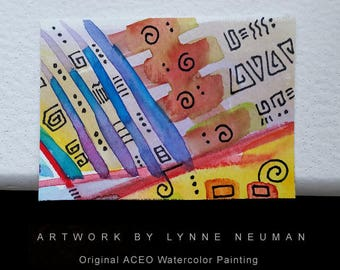 ACEO Original Hand-Painted One-of-a-Kind Abstract Mini Watercolor Signed Painting by Lynne Neuman #4360 OOAK Miniature Small Format Art ATC