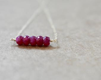 genuine ruby bar necklace. 14k gold filled chain. ruby beaded bar pendant necklace. minimalist modern ruby jewelry. ruby necklace