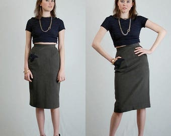 SALE 25% off sundays Pencil Skirt Vintage 80s Olive + Black High Waist Urban Indie Pencil Skirt (s)