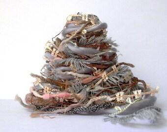 grey harbor fiber effects™  art yarn bundle 12 yards . mixed media fiber bundle . diy fiber art crafts . taupe gray peach neutral yarn pack