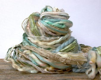 seaside dream weaver effects™ 30yd art yarn bundle shabby cottage chic mixed media fibers textile craft kit organic cotton wools sari silk