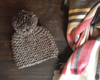 Knit Beane Hat with Extra Large Pom in Speckled Brown