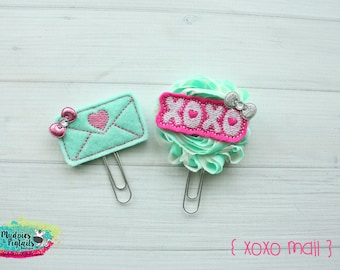 Planner Clip Set { XOXO mail } valentine's day Paper Clips, Stationary, spring, aqua and pink Birthday party favors, kikkik, happy planner