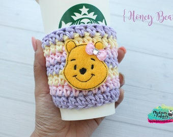 Winnie the Pooh Cup Cozy { Honey Bear } pastel, pink yellow crochet coffee sleeve, knit mug sweater, starbucks gift, frappuccino holder