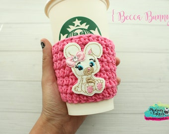 Easter Crochet Coffee Sleeve { Becca Bunny } candy pink, stuff animal, spring cup cozy, knit mug sweater, starbucks gift, frappuccino holder