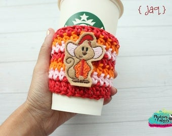 Mice Cup Cozy { Jaq } castle, princess cinderella, crochet coffee sleeve, knit mug sweater, starbucks gift, frappuccino holder