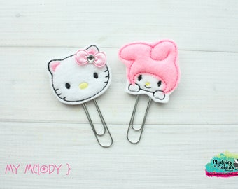 Planner Clip or Hair Clippie { My Melody } bunny, kitty, Summer Paper Clips, Stationary, Planner Supplies Birthday party favors, kikkik