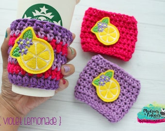 Spring Crochet Coffee Sleeve { Violet Lemonade } frozen drink, flower garden festival, minnie, floral cup cozy, knit mug sweater