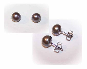Vintage Earrings,STERLING SILVER,Sterling Earrings,Silver Earrings,8.5mm,Cultured Pearl,Black Pearl,Pierced Earrings,Studs,Pearl Studs