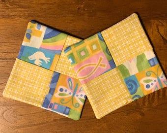 "Set of 2 Coasters, Tulip Coasters, 4""x4"" Coasters, Four Patch Coasters"