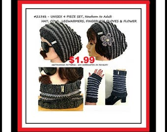 KNITTING patterns - 5 piece set: Hat, Cowl, Legwarmers, Finger-Less Gloves, Knit Flower, Newborn - Adult, Unisex Slouchy Hat, #2138K,