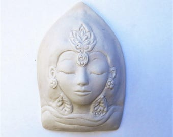 Quan Yin Matte White Tara Ceramic Goddess Face Kwan Yin Buddhist Tibetan Buddism Porcelain Sculpture Quan Yin Buddha Art