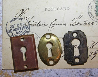 Vintage Hardware KEYHOLES- Antique Escutcheon Plate- Salvage Yard Architectural Salvage- Door Plate Hardware- C18