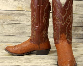 Mens 10.5 D Cowboy Boots Nocona Ostrich Tan Brown Leather Country Western Shoes