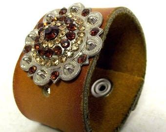 Brown and Tan Rhinestones Western Boho Leather Cuff - upcycled bracelet Hippie
