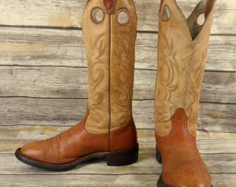 Boulet Cowboy Boots Mens Size 8.5 E Wide Light Tan Leather Country Western Shoes