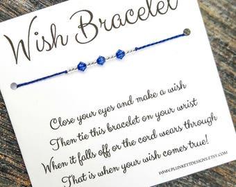Wish Bracelet - Swarovski Crystals & Silver Lined Glass Beads - September Birthstone - Sapphire
