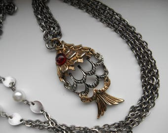 Vintage Necklace with Articulated Fish Pendant, Red Glass Eye