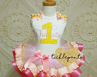 Name and Age birthday outfit - LEMONADE - Pink and yellow - Includes embroidered top and ruffled tutu - Available in TONS of colors
