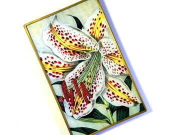 Gold Band Lily decoupage glass catch-all tray