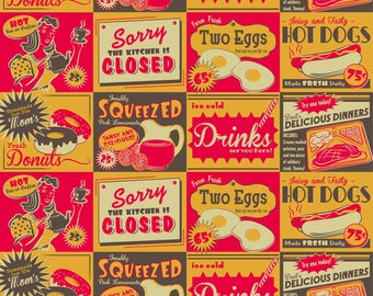 Retro Food Ads Fabric - Retro Kitchen (Advertising) By Retrorudolphs - Retro Vintage 1950s Kitsch Cotton Fabric By The Yard With Spoonflower