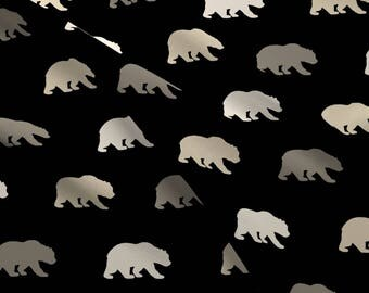 Neutral Bear Fabric - Bears Black,Tan,Taupe By Sugarpinedesign - Gender Neutral Woodland Nursery Cotton Fabric By The Yard With Spoonflower