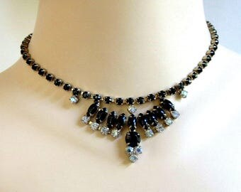 Black & Aurora Borealis Rhinestone Bib Necklace Vintage Signed