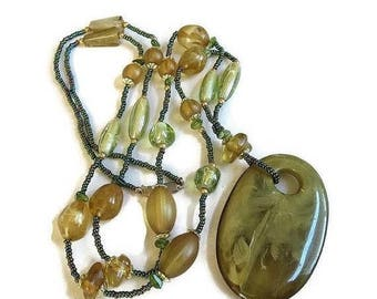 Large Pendant Necklace Swirl Green Lucite and Topaz Beads Vintage