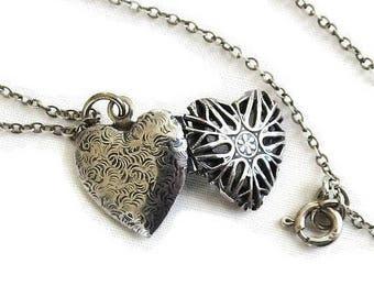 Sterling Silver Heart Photo Locket Pendant Necklace Vintage Antique