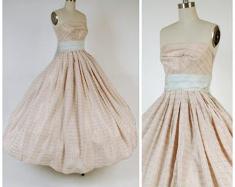 Vintage 1950s Party Dress - Pale Pink and Blue 50 Ballgown with Silvery Shimmer and Massive Full Skirt