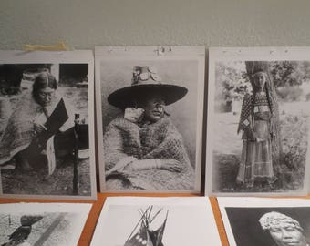 Lot of 16 Reproduction Postcards Native American Women by Edward Curtis / Black Whie Postcards