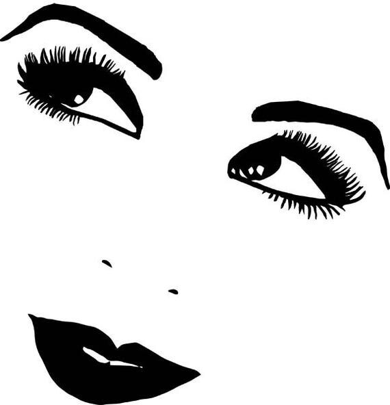 1920s woman smiling eyes lips png clipart Digital stamp digital Download Image facial features printable art graphics