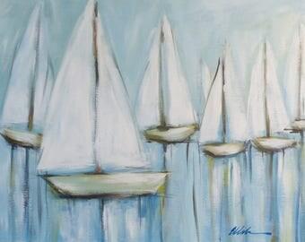 Sailboat painting/ original painting/acrylic painting/ coastal painting/ yachting/ beach house decor/