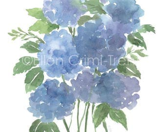 Watercolor blue hydrangea/ watercolor flowers/ watercolor wall art/ blue flowers/ gifts for her/ watercolor wall decor/ floral wall art