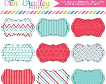 80% OFF SALE Clipart Labels Red & Blue Patterns Polka Dots Chevron Stripes Personal and Commercial Use Digital Clip Art Frame Graphics