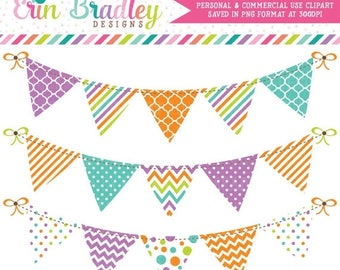 80% OFF SALE Bunting Clipart Purple Blue Orange & Green Chevron Stripes and Polka Dots Instant Download Commercial Use Graphics