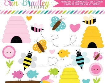 80% OFF SALE Birds Bees Clipart Clip Art for Personal & Commercial Use Butterflies Beehives and Flowers