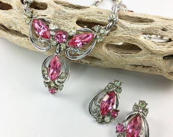 Pink Rhinestone Bogoff Choker Necklace, Clip Earrings, Wedding Bridal Jewelry, Signed Jewelry, 1940's 1950's Jewelry, Statement Necklace