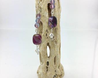 Swarovski Crystal, Purple Bead, Long Dangle Earrings, Boho Earrings, Bridesmaid Earrings, Statement Earrings, Nickle free Earwires