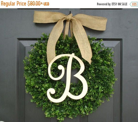 SUMMER WREATH SALE Monogram Boxwood Wreath, Fall Monogram Wreath with Burlap Bow, Housewarming Gift, Wedding Wreath 16- 22 Inch Available