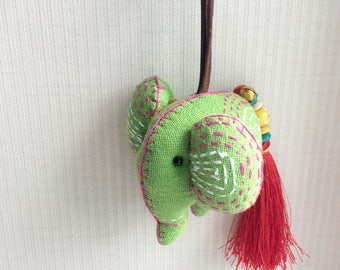 Elephant Keychain, Elephant Key chain, green, fabric elephant, fabric keychain, xmas, ornament, plush elephant, fringe, colorful, children