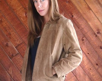 15% Memorial Day Wknd ... Brown Suede WILSONS Leather Zip Up Bomber Jacket - Vintage 90s - SMALL S